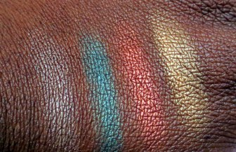 swatches of the be a bombshell eyeshadow bora bora