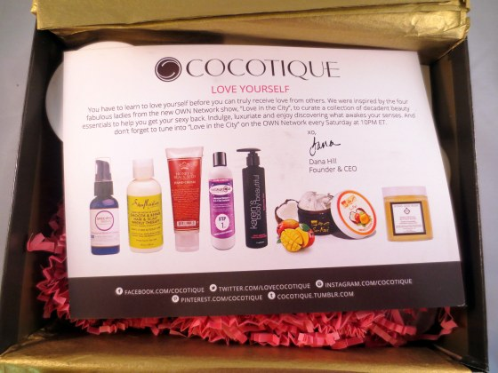 inside cocotique beauty box