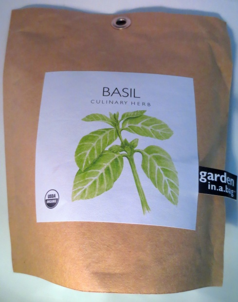 basil culinary herb garden in a bag